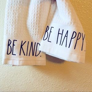 New. Be happy. Be kind. Rae dunn kitchen towels